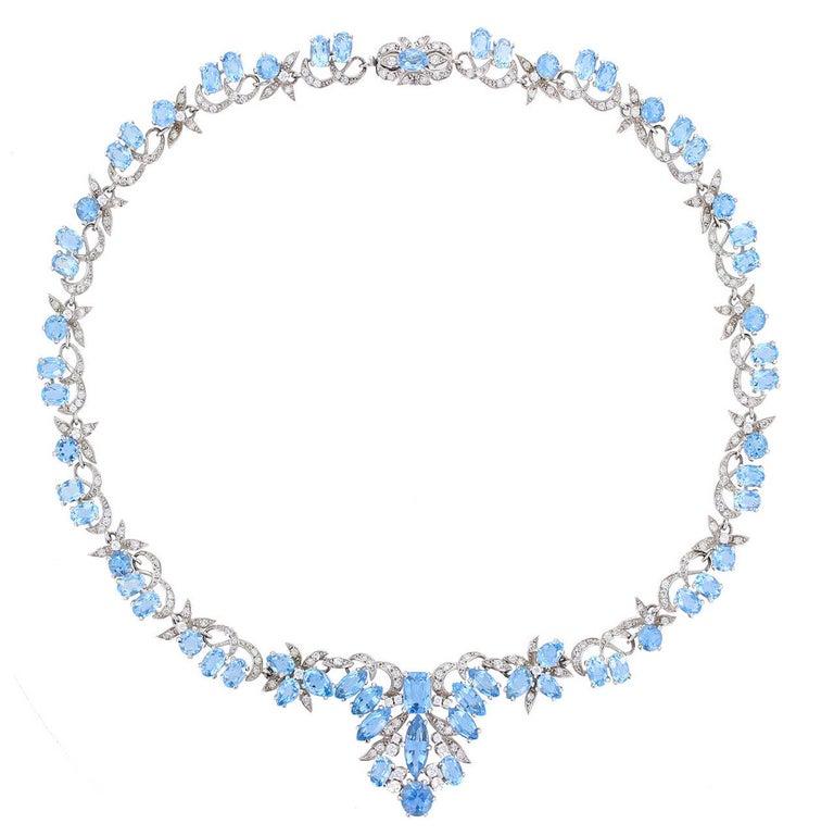 1950s Harrods London Aquamarine Diamond Gold Necklace For Sale