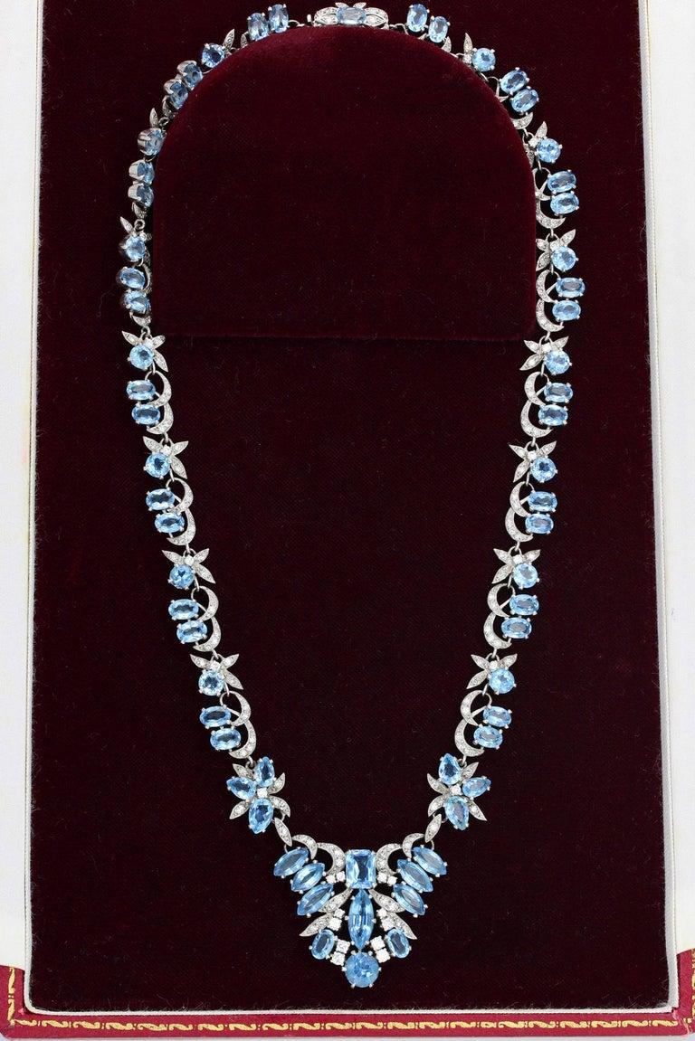 Post-War 1950s Harrods London Aquamarine Diamond Gold Necklace For Sale