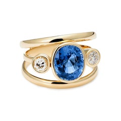 Sri Lankan Sapphire and White Diamond 3-Stone Ring