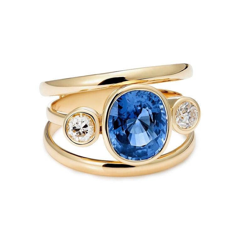 Sri Lankan Sapphire and White Diamond 3-Stone Ring For Sale