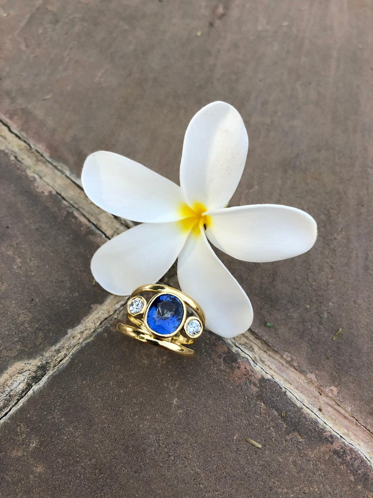 Cushion Cut Sri Lankan Sapphire and White Diamond 3-Stone Ring For Sale