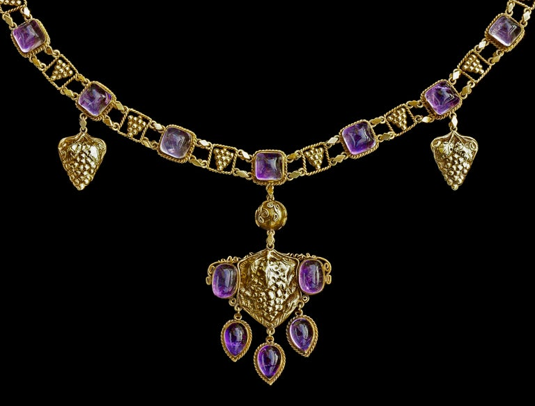 A superb, documented Arts & Crafts amethyst and gold necklace