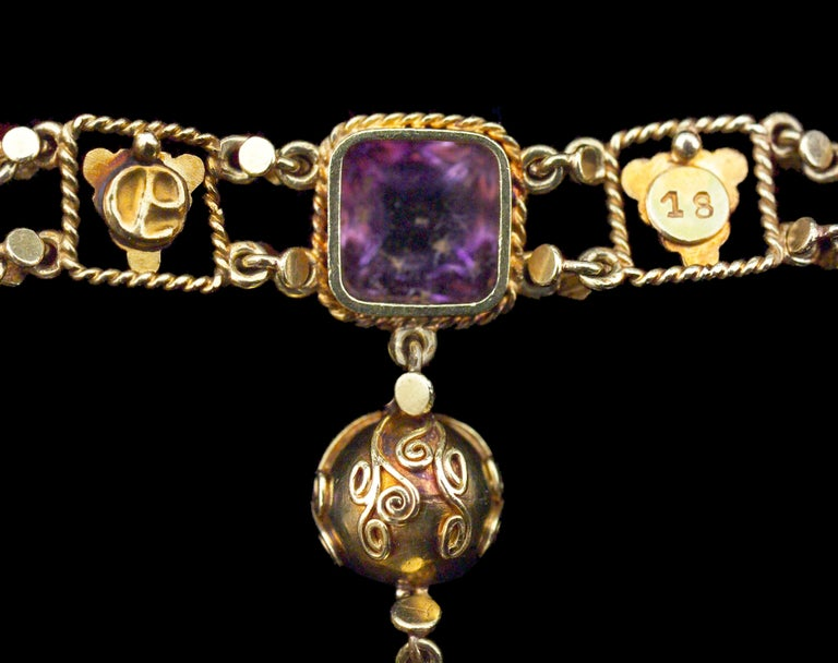 Amethyst Yellow Gold Grapevine John Paul Cooper Arts & Crafts Necklace In Excellent Condition For Sale In London, GB