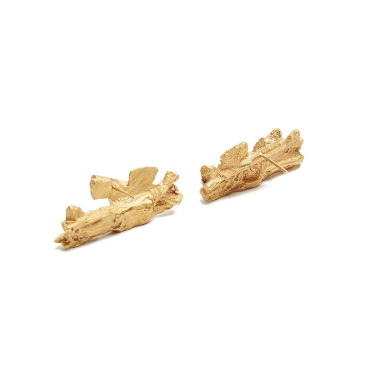 Kairos Necklace: Kairos Textured Natural Formed Gold Stud Earrings For Sale