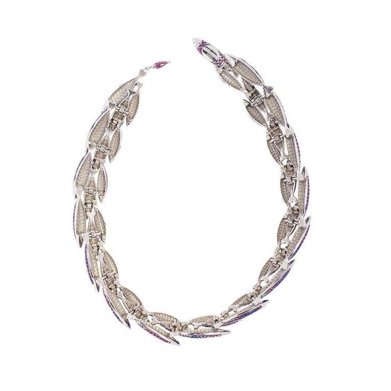 Contemporary Simon Harrison Green Ombre Enamel Small Electra Fish Necklace For Sale