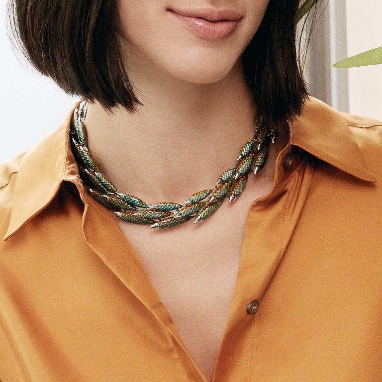 Women's Simon Harrison Green Ombre Enamel Small Electra Fish Necklace For Sale