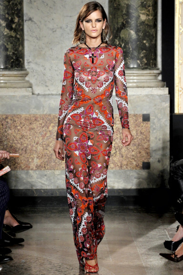 Women's Emilio Pucci Printed Devore Gown For Sale