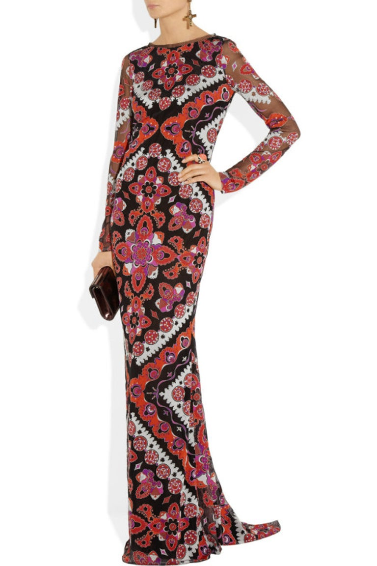 Emilio Pucci Printed Devore Gown For Sale 3
