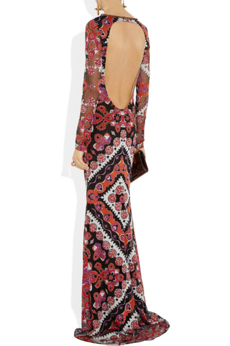 Emilio Pucci Printed Devore Gown For Sale 4
