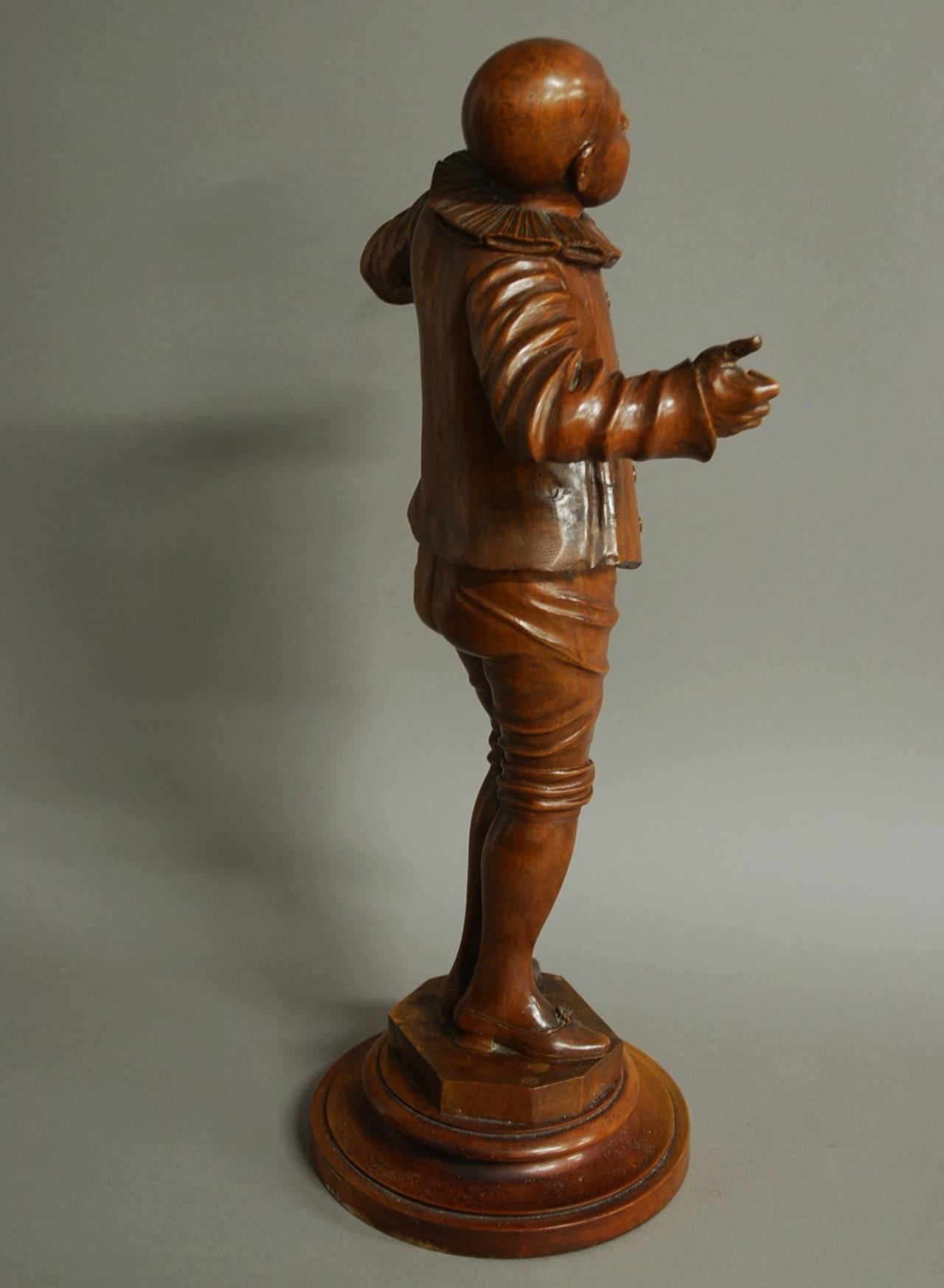 Finely Carved Walnut Figure of a Pierrot at 1stdibs