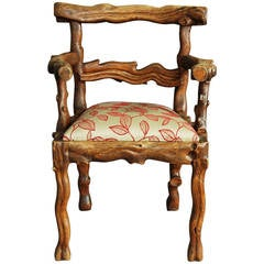 Mid 19th Century Elm Rustic Carved Armchair