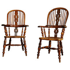 Pair of Broad-Arm Burr Yew Wood, High Back Windsor Chairs
