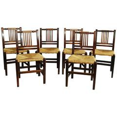19th Century Set of Six Birch and Rush Chairs