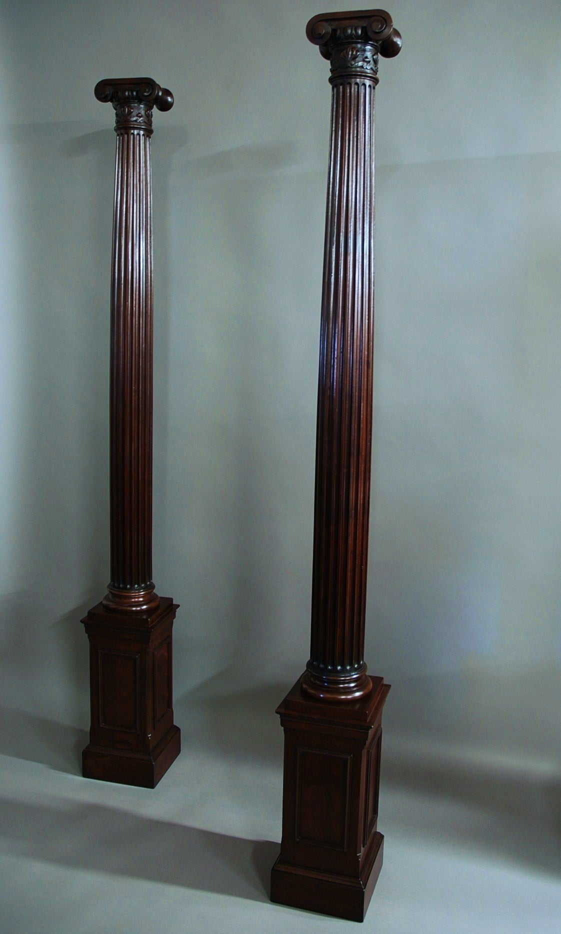 Pair of decorative walnut ionic columns at 1stdibs for Decorative column