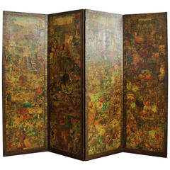 Late 19th Century Four-Panel Folding Decoupage Screen