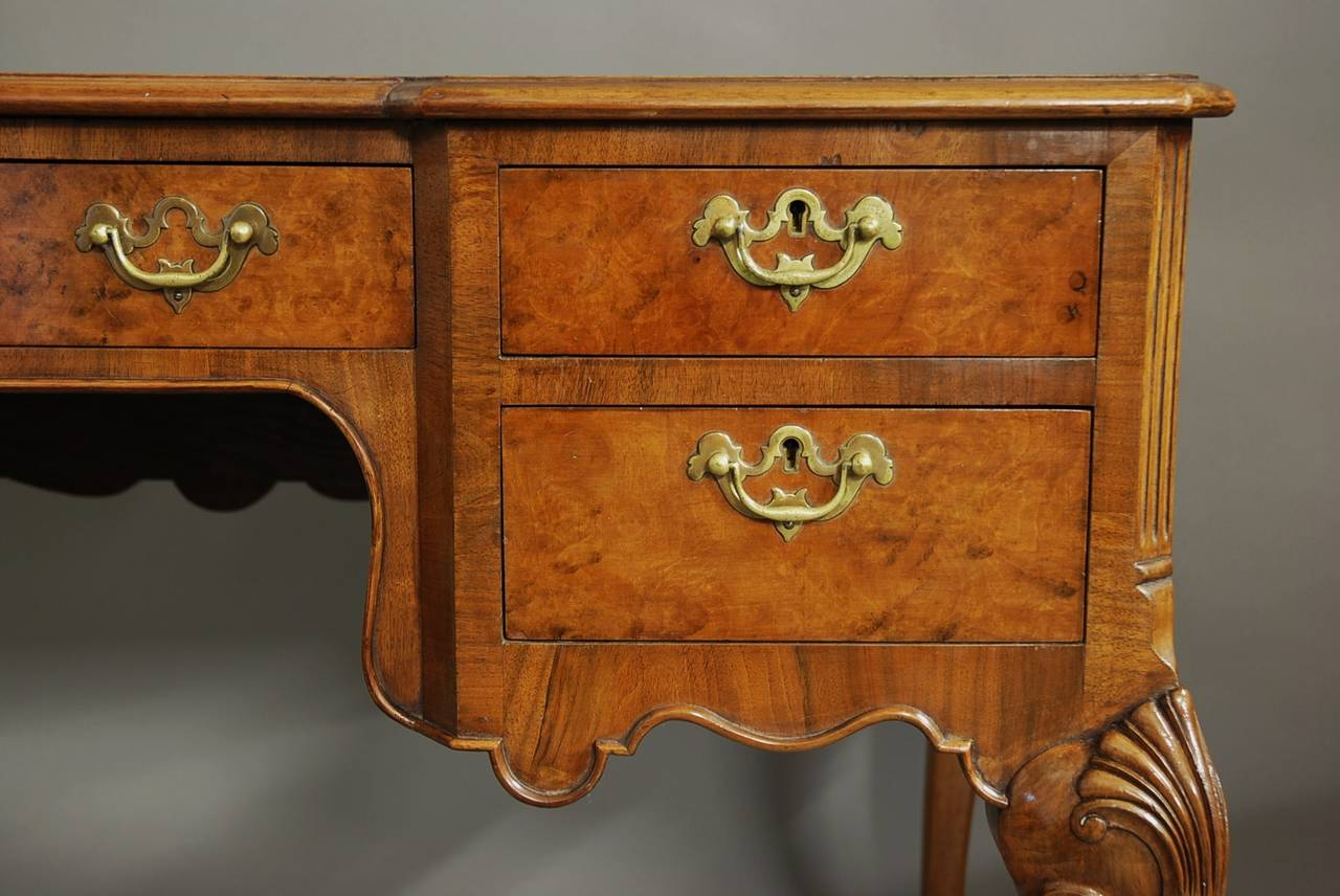 English Walnut Writing Desk in the Queen Ann Style For Sale