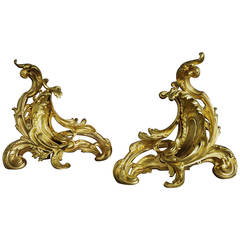 Pair of Ormolu Chenets in the Rococo Style