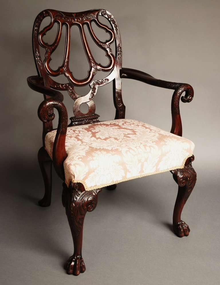 British Mahogany Open Armchair, circa 1900 For Sale