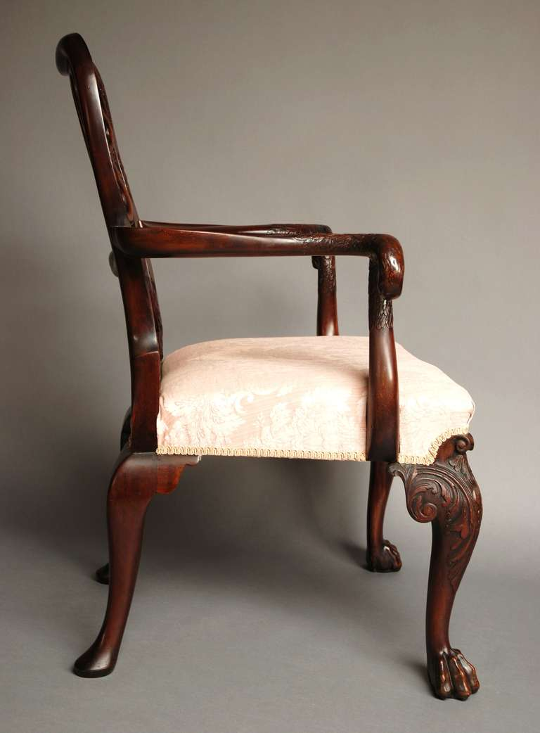 Mahogany Open Armchair, circa 1900 For Sale 1