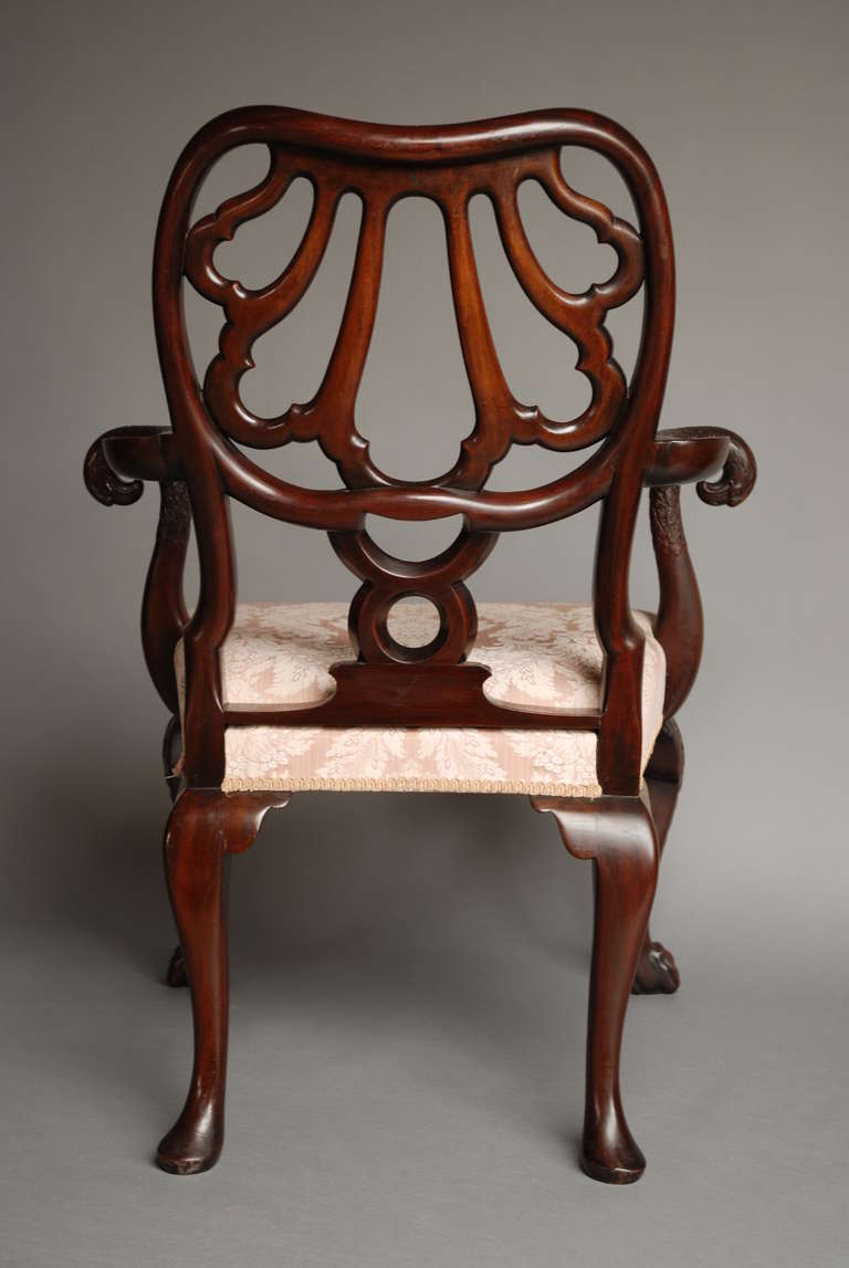 Mahogany Open Armchair, circa 1900 For Sale 2