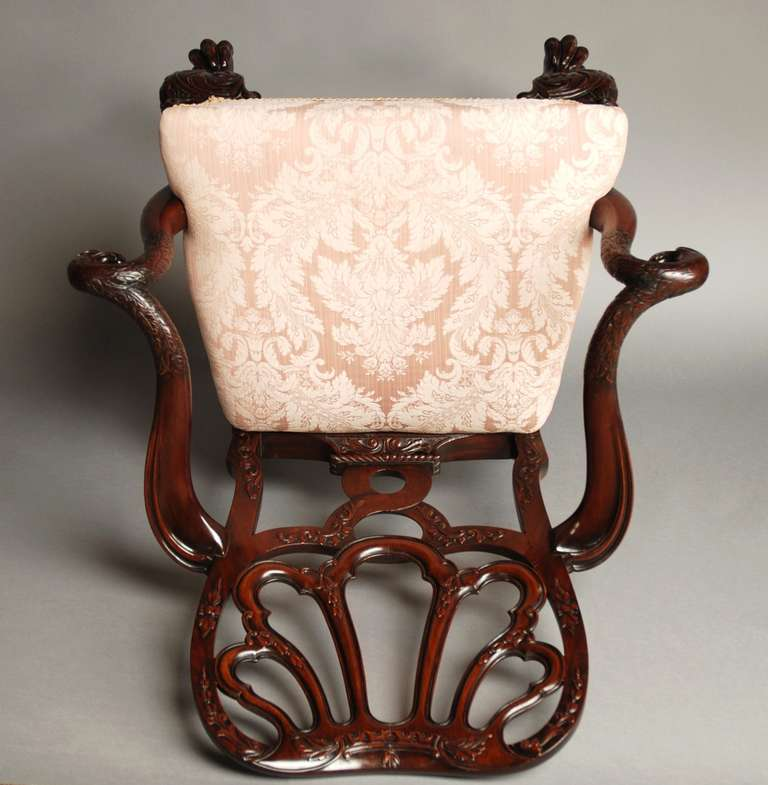 Mahogany Open Armchair, circa 1900 For Sale 4