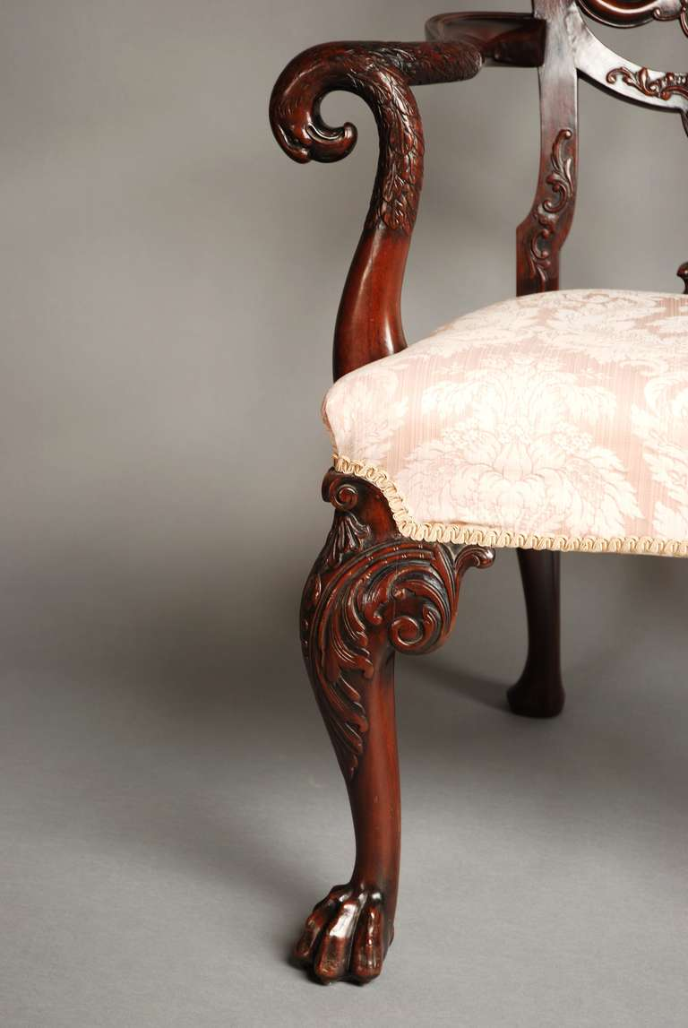Mahogany Open Armchair, circa 1900 For Sale 3