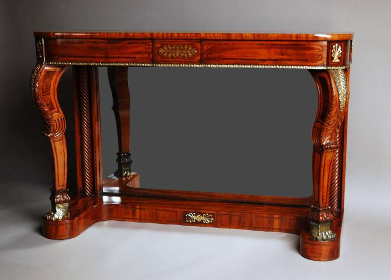 19th Century Regency Mahogany And Rosewood Console Table With Brass Inlay 2