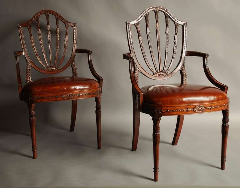 A fine pair of early 20th century mahogany shield back chairs bearing a  Waring & Gillows - Pair Of Early 20th Century Mahogany Shield-Back Chairs At 1stdibs