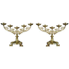 Pair of Gothic Style Brass Candlesticks