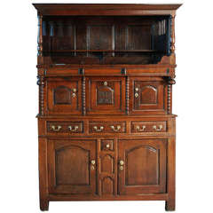 Mid-18th Century Welsh Oak 'Tridarn' Three Part Cupboard of Superb Patina