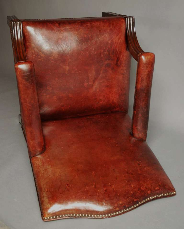 mid 20th century worn leather gainsborough chair at 1stdibs