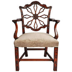 Late 19th Century Mahogany Open Armchair in the Chippendale Style