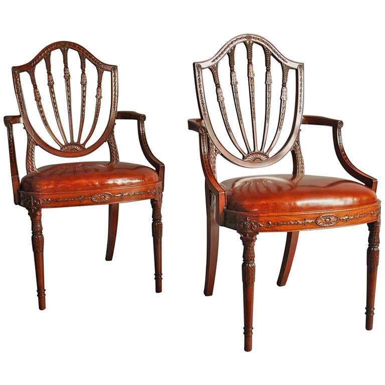 Pair Of Early 20th Century Mahogany Shield Back Chairs At 1stdibs