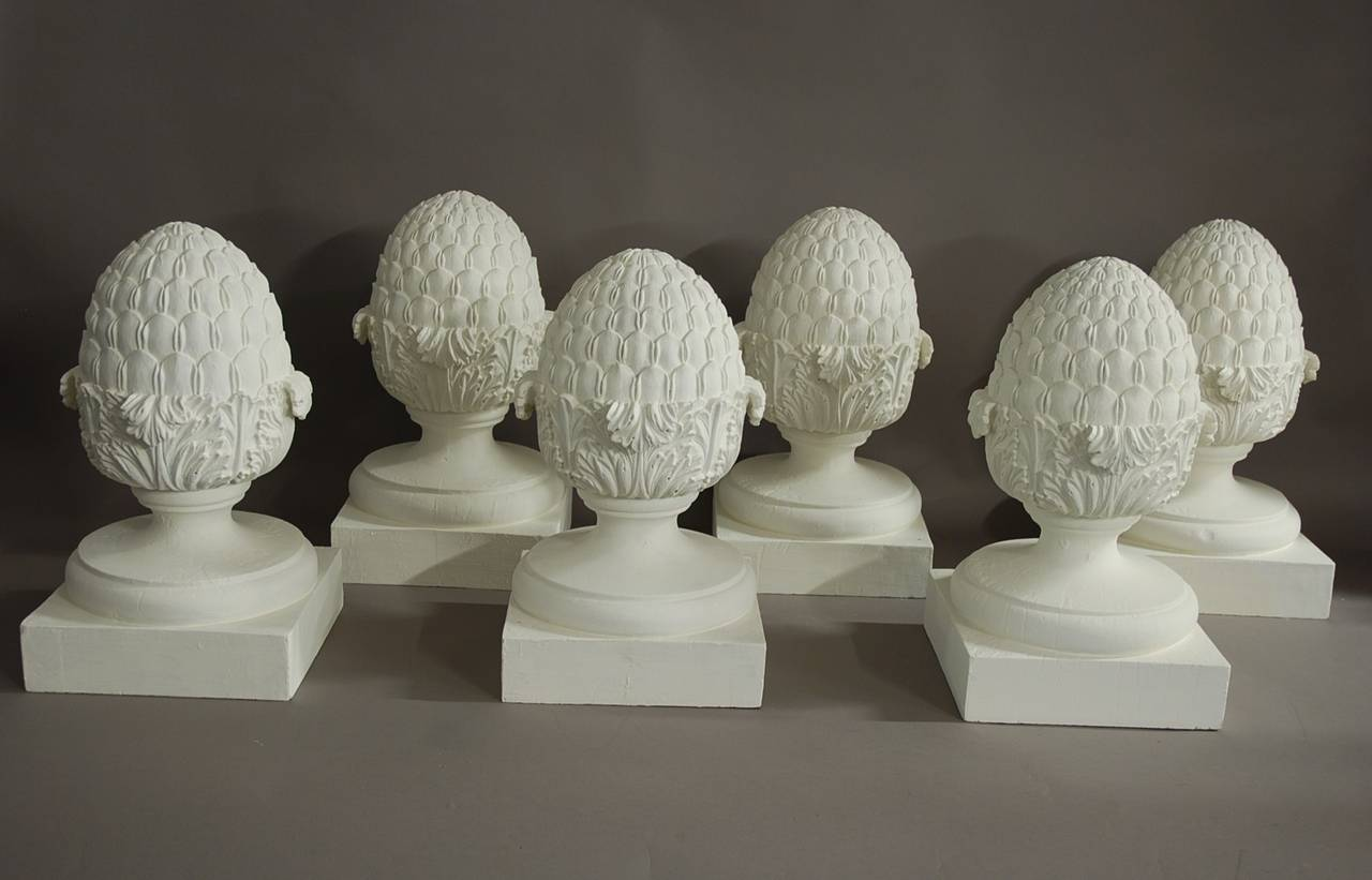 Set Of Six Decorative Wooden Pineapple Finials At 1stdibs