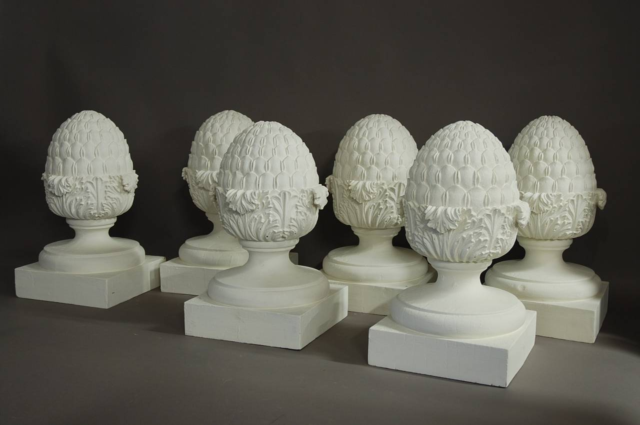 Set Of Six Decorative Wooden Pineapple Finials For Sale At