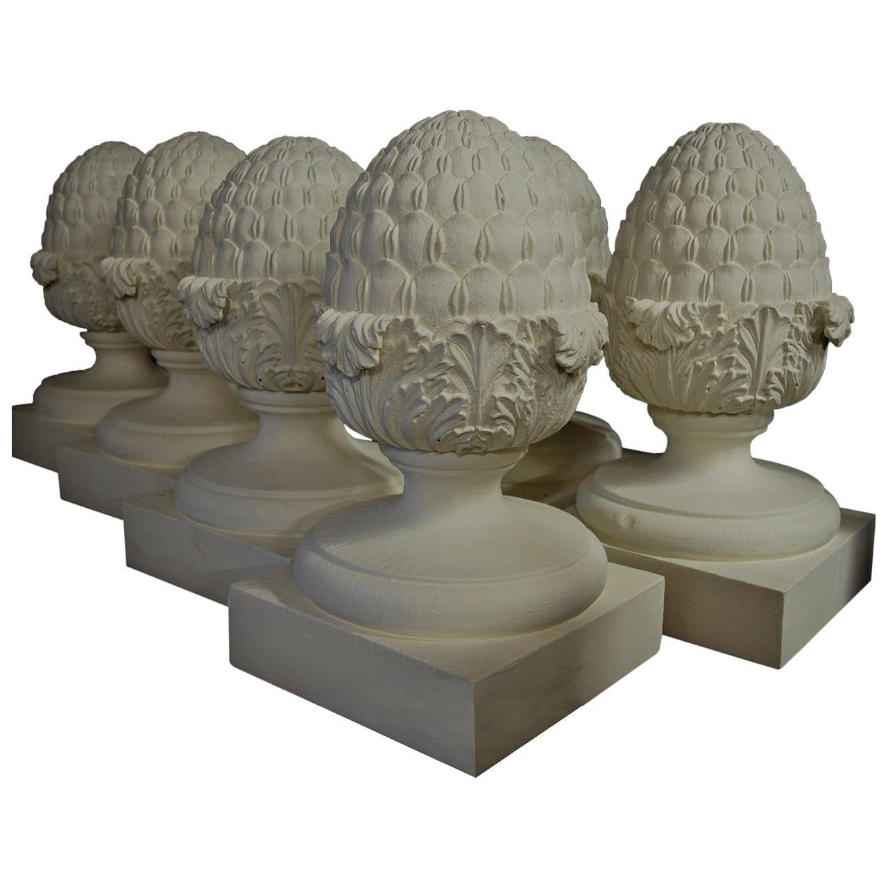Set Of Six Decorative Wooden Pineapple Finials