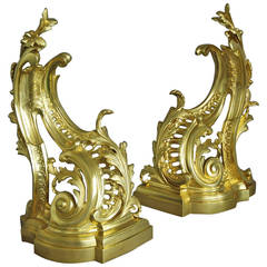 Pair of Rococo Style Ormolu Chenets