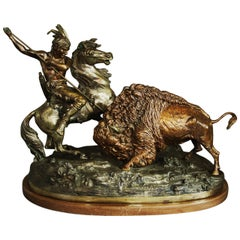 Large Bronze Figure of 'The Buffalo Hunt'