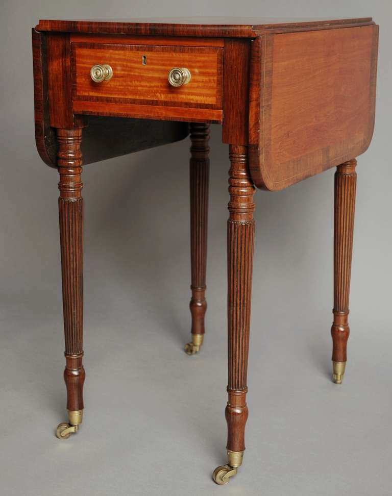 Early 19th Century Satinwood Drop Leaf Table Of Small
