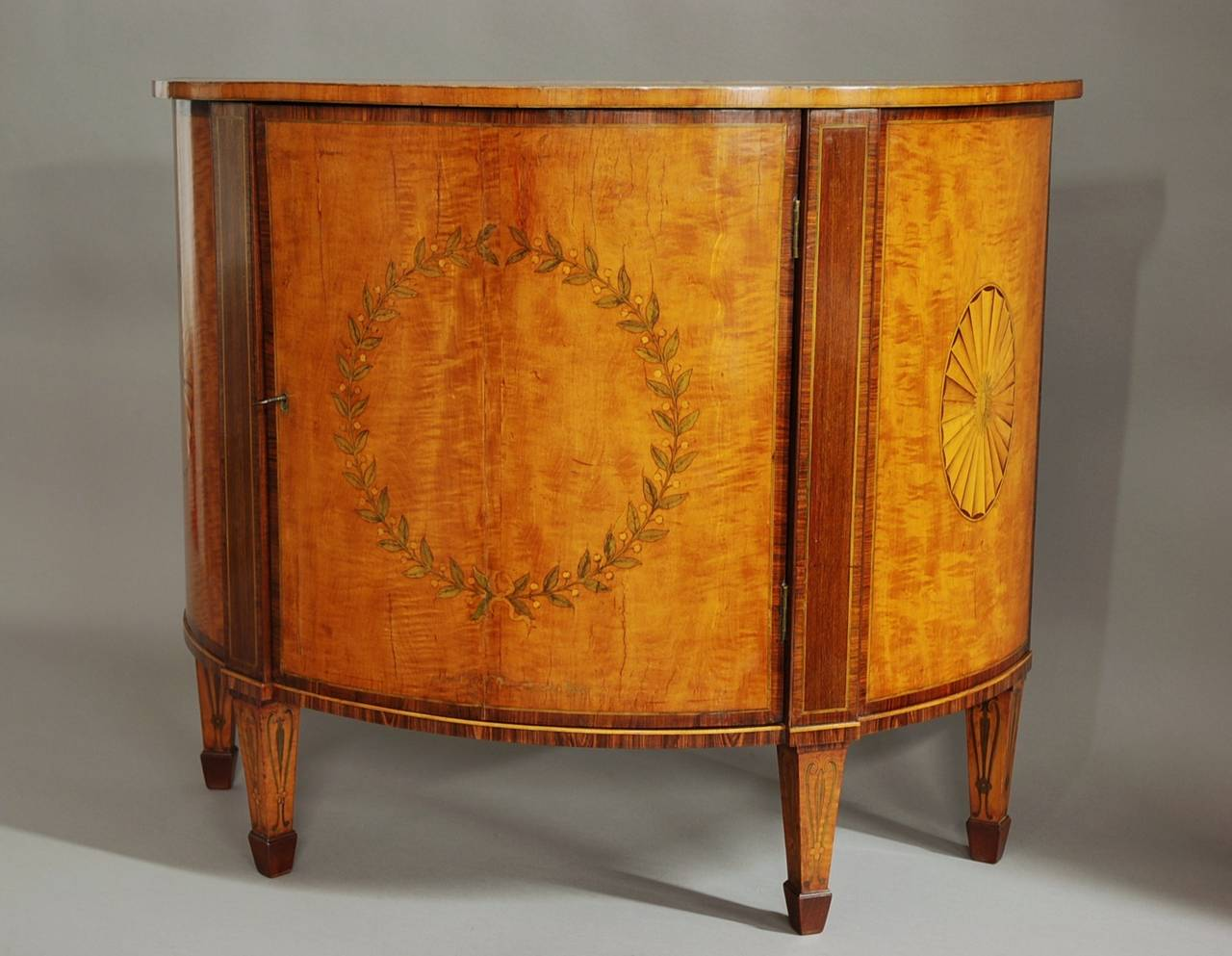 18th Century Semi Elliptical Satinwood Commode Of Small