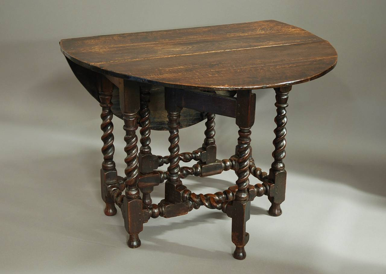 Late 17th Century Oak Gateleg Table Of Small Proportions