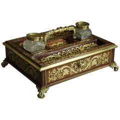 Regency Rosewood and Inlaid Brass Desk Stand/Inkstand
