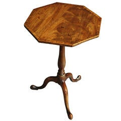 George III Octagonal Mahogany Tilt-Top Table of Superb Patina