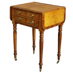 Early 19th Century Burr Oak Work Table with Patina