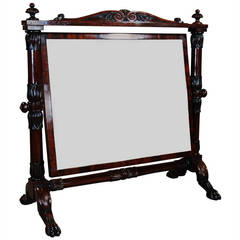 19th Century, Cuban Mahogany Cheval Table Mirror