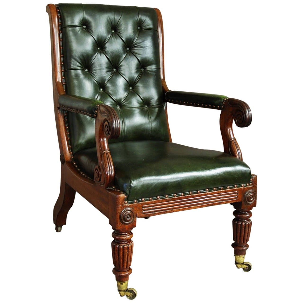 leather library chairs for sale william iv mahogany and leather library chair at 1stdibs 16646 | 2968772 l