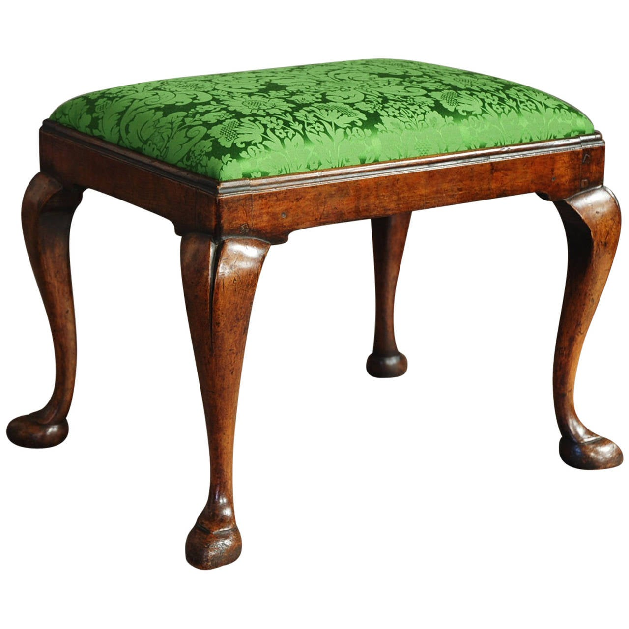 Early 20th Century Walnut Cabriole Leg Stool In The Queen Anne Style 1