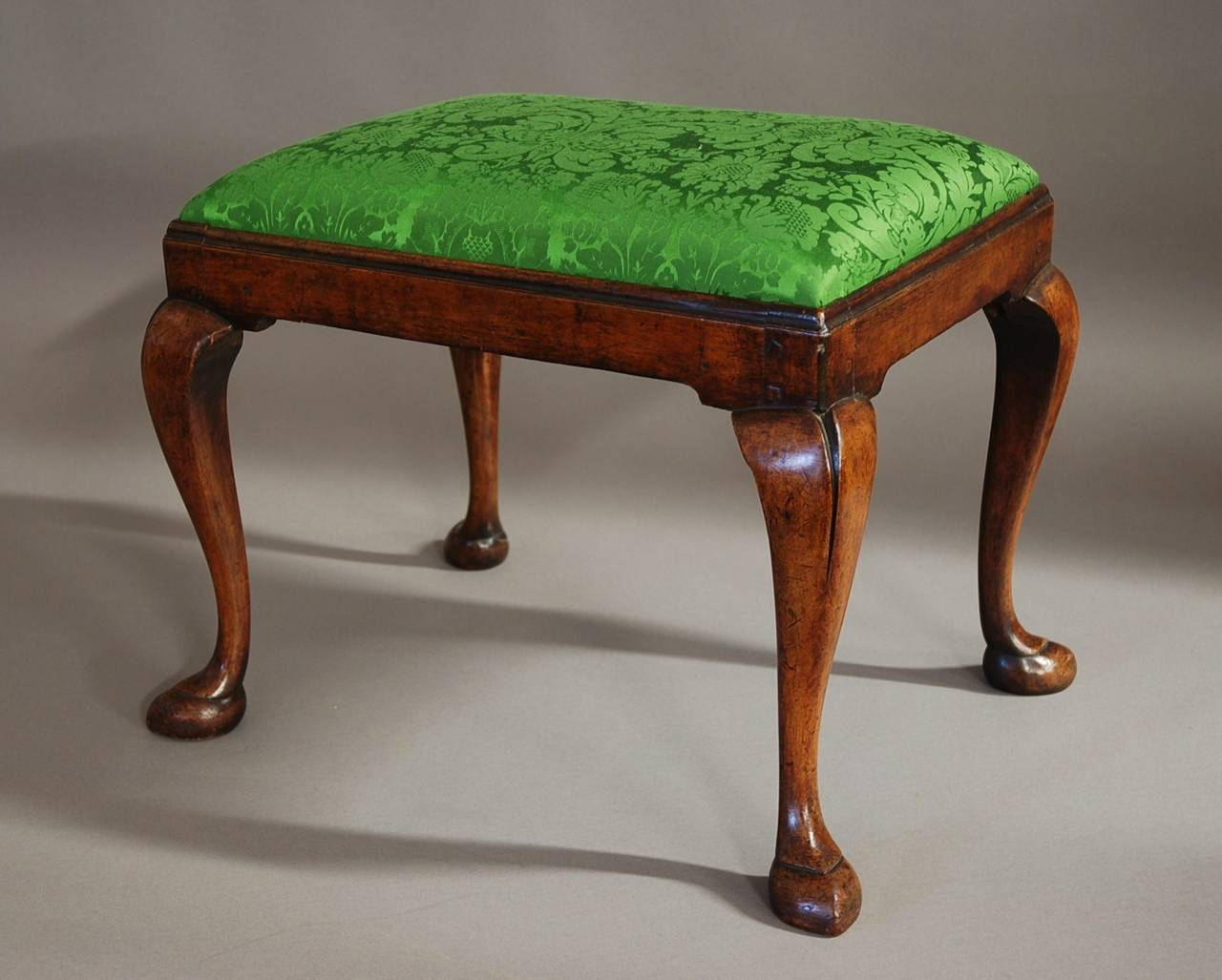 english early 20th century walnut cabriole leg stool in the queen anne style for sale