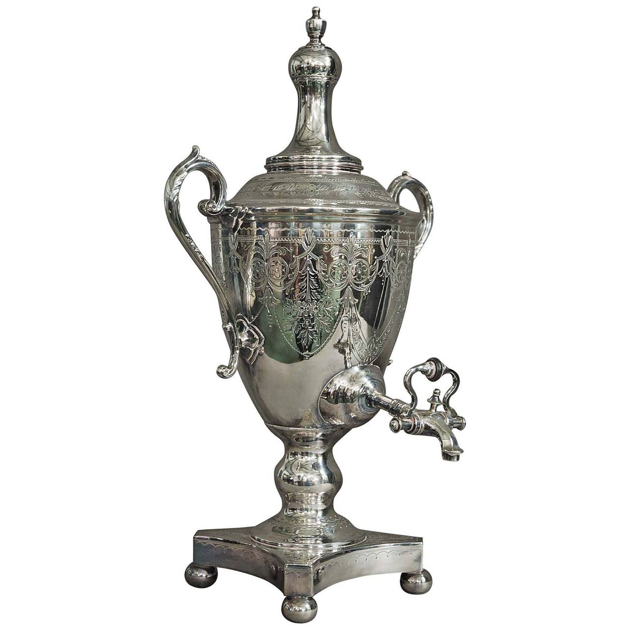 Late 19th Century Silver Plate Vase Shaped Tea Urn At 1stdibs