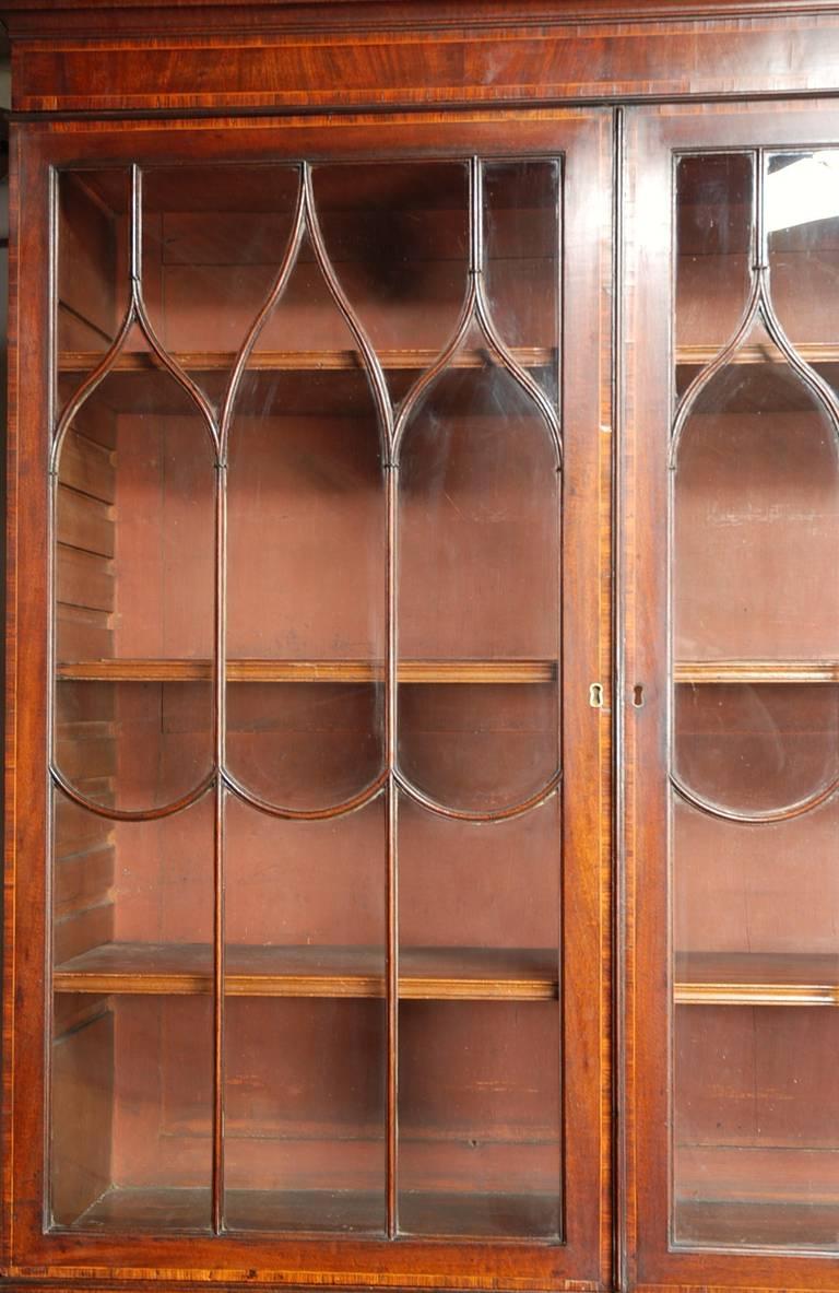 19th Century Late 18th century Mahogany Secretaire Bookcase For Sale